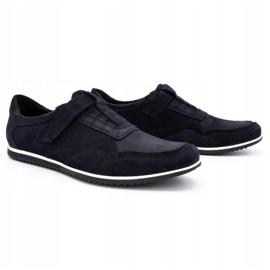 Polbut Men's casual leather shoes 2102/2 navy blue 3