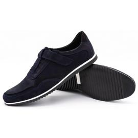 Polbut Men's casual leather shoes 2102/2 navy blue 4