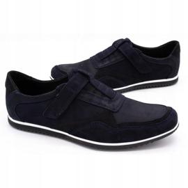 Polbut Men's casual leather shoes 2102/2 navy blue 6