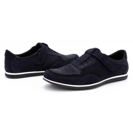 Polbut Men's casual leather shoes 2102/2 navy blue 7
