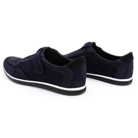 Polbut Men's casual leather shoes 2102/2 navy blue 8