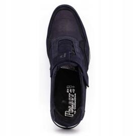 Polbut Men's casual leather shoes 2102/2 navy blue 9