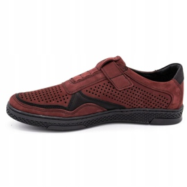 Polbut Men's casual leather shoes 2102L burgundy red 1