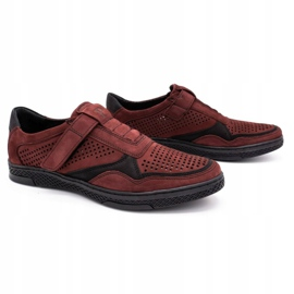 Polbut Men's casual leather shoes 2102L burgundy red 2