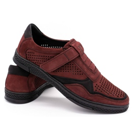 Polbut Men's casual leather shoes 2102L burgundy red 4
