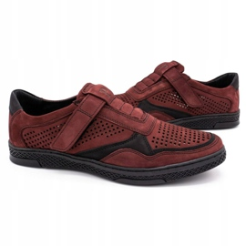 Polbut Men's casual leather shoes 2102L burgundy red 5