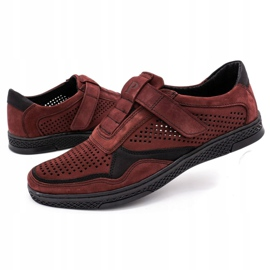 Polbut Men's casual leather shoes 2102L burgundy red 6