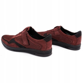 Polbut Men's casual leather shoes 2102L burgundy red 7