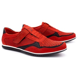 Polbut Men's casual leather shoes 2102 / 2L red 2