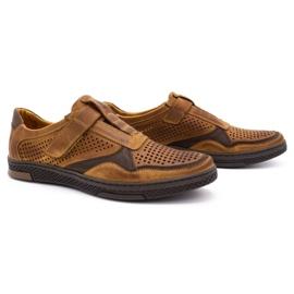 Polbut Men's casual leather shoes 2102L camel brown 2