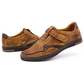 Polbut Men's casual leather shoes 2102L camel brown 6