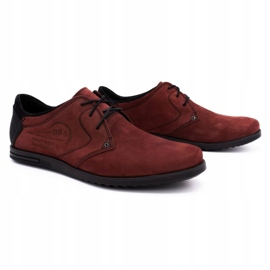 Polbut Men's leather shoes 2103 burgundy red 2