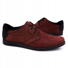 Polbut Men's leather shoes 2103 burgundy red 5