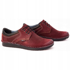 Kampol Men's casual shoes 11/34 burgundy red 3