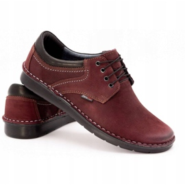 Kampol Men's casual shoes 11/34 burgundy red 5