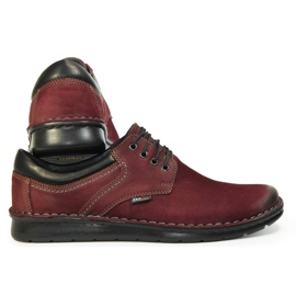 Kampol Men's casual shoes 11/34 burgundy red 6