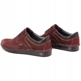 Kampol Men's casual shoes 11/34 burgundy red 8