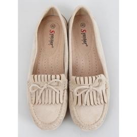 Women's beige loafers GS11P Beige 1