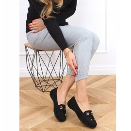 Black Women's loafers with a platform black H9228 Negro 2