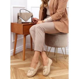 Women's beige loafers on a platform, beige H9228 Beis 2