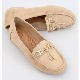 Women's beige loafers on a platform, beige H9228 Beis 1