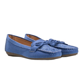 Blue moccasins with an openwork Maura pattern 1
