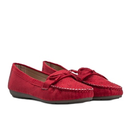 Red moccasins with an openwork Maura pattern 1