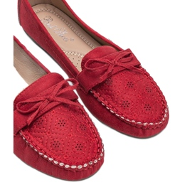Red moccasins with an openwork Maura pattern 2