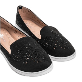 Black openwork loafers with Brianna cubic zirconia 1