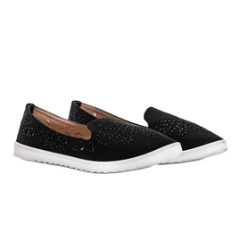 Black openwork loafers with Brianna cubic zirconia 2