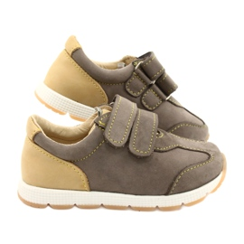 Leather Boys Casual Shoes Mazurek 1362 Velcro brown yellow 4
