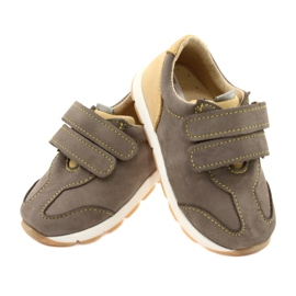Leather Boys Casual Shoes Mazurek 1362 Velcro brown yellow 3