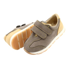 Leather Boys Casual Shoes Mazurek 1362 Velcro brown yellow 2
