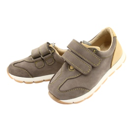 Leather Boys Casual Shoes Mazurek 1362 Velcro brown yellow 1