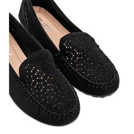 Black moccasins with openwork toe Frida 2