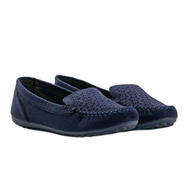 Navy blue loafers with an openwork toe Frida 1