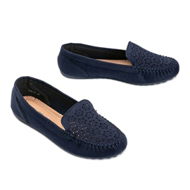 Navy blue loafers with an openwork toe Frida 2