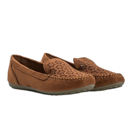 Brown moccasins with an openwork toe Frida 1
