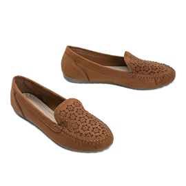 Brown moccasins with an openwork toe Frida 2