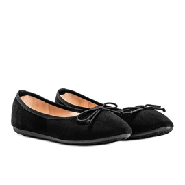 Black suede ballerinas with Aiyana bow 1