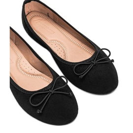 Black suede ballerinas with Aiyana bow 2