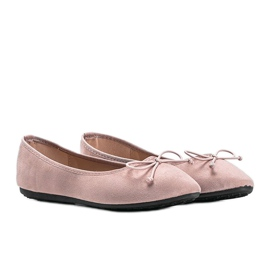 Pink suede ballerinas with Aiyana bow 1