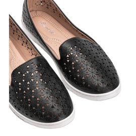 Black loafers with an openwork Margari finish 1