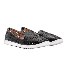 Black loafers with an openwork Margari finish 2