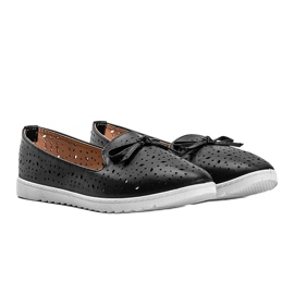 Black loafers with Madalyne openwork trim 1
