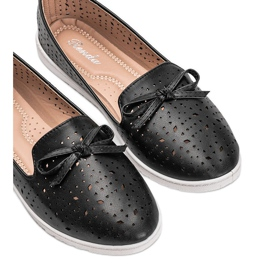 Black loafers with Madalyne openwork trim 2