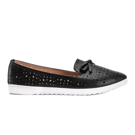 Black loafers with Madalyne openwork trim 3