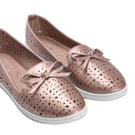 Champagne moccasins with Madalyne openwork finish pink 1