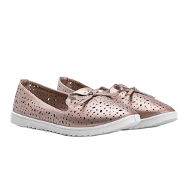 Champagne moccasins with Madalyne openwork finish pink 2