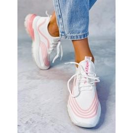 White sports socks BX1820-SP WHITE / PINK 2